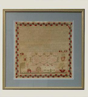 1840 ARCHITECTURAL SAMPLER BY FRANCES EMALINE