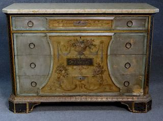 MARBLE TOP PAINTED ITALIAN COMMODE