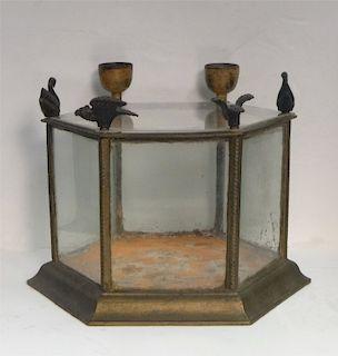 IRON & GLASS TERRARIUM W/ CANDLECUP, SWAN & EAGLE
