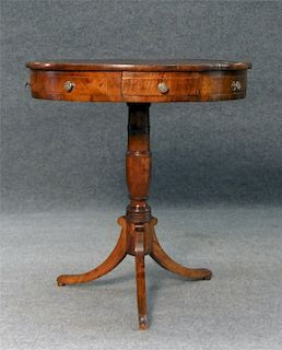 19THC. RED LEATHER TOP DRUM TABLE W/ ROUND TOP