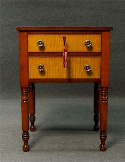CHERRY 2 DRAWER STAND W/ TIGER MAPLE DRAWER FRONTS