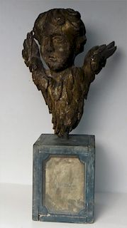 CONTINENTAL 19THC. WOOD CARVING OF ANGEL