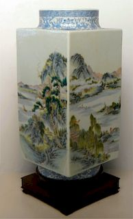 CHINESE SCENIC HAND PAINTED VASE W/ WAX SEAL