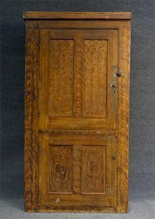 DOOR OVER DOOR 19THC.FEATHER GRAINED WALL CUPBOARD