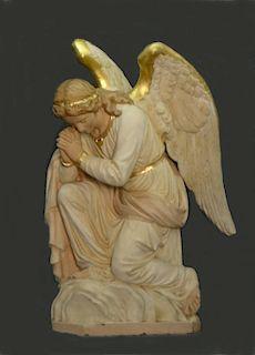 """CAST ZINC LIFE SIZE GARDEN ANGEL (36 1/2"""" X 26"""" )"""