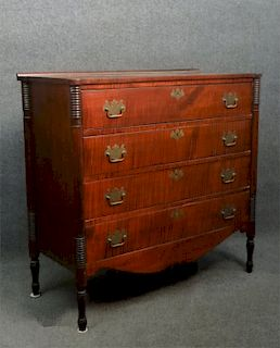 CURLEY MAPLE SHERATON 4 DRAWER CHEST