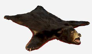 BLACK BEAR RUG W/ TAXIDERMY MOUNTED HEAD