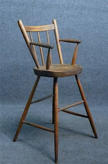 PLANK SEAT SPLAY LEG YOUTH CHAIR, EARLY 19THC.