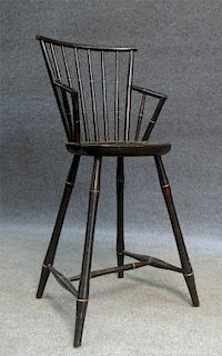 BAMBOO TURNED 19THC. YOUTH CHAIR IN ROSEWOOD