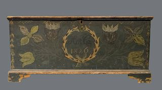 PAINT DECORATED SCHOHARIE CO. BLANKET CHEST DATED