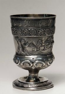 ENGLISH STERLING SILVER GOBLET W/ SCENIC BAND