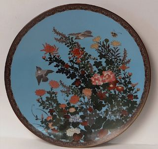CLOISONNE CHARGER W/ BIRDS, BUTTERFLIES & FLOWERS