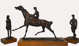LEROY NEIMAN BRONZE 3 PC. HORSE RACING SUITE