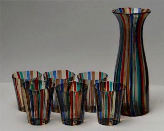 MULTI COLORED MORANO GLASS CARAFE & TUMBLER SET