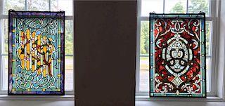 """2 STAINED GLASS WINDOWS 30"""" X 20"""" (1 W/ DMG)"""
