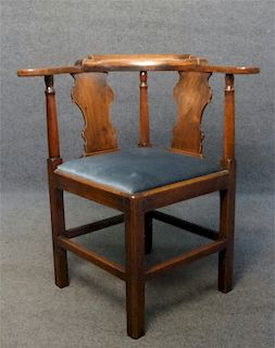 LATE 18THC. MAHOGANY CHIPPENDALE CORNER CHAIR