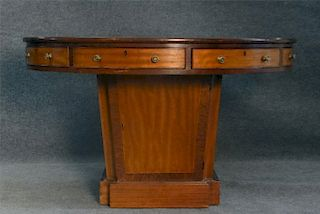 ROUND PEDESTAL RENT TABLE W/ LEATHER TOP