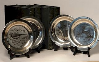 8 COMMERATIVE STERLING SILVER PLATES, C. 1970'S