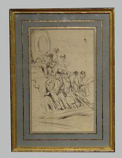 """EVERETT SHINN, 1905 PEN & INK """"THE COMMUTERS"""""""