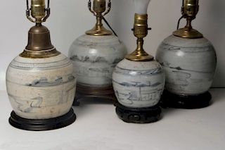 4 19THC. ORIENTAL GINGER JAR LAMPS