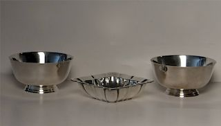 3 STERLING SILVER BOWLS: PR BY WORCESTER SILV. CO