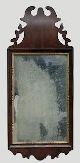 18THC QUEEN ANNE LOOKING GLASS W/ PIERCED CREST