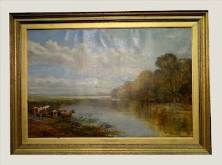 """O/C """"THE RIVER NEAR READING"""" LABELED F. HARDY 1879"""