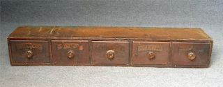 BANK OF 5 APOTHECARY DRAWERS W/ ORIGINAL  LABELS