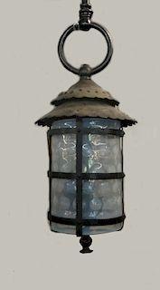 OPALESCENT THUMB PRINT GLASS & IRON HALL  LANTERN