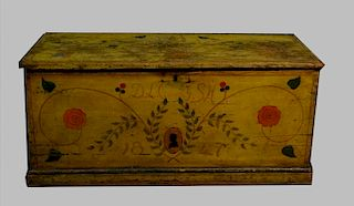PAINT DECORATED CHROME YELLOW HOPE CHEST DATED