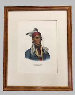 19THC. HAND COLORED CHIPPEWAY CHIEF PRINT