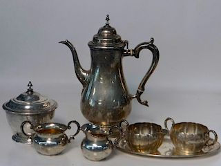 STERLING SILVER INC. COFFEE POT, COVERED SUGAR & 2