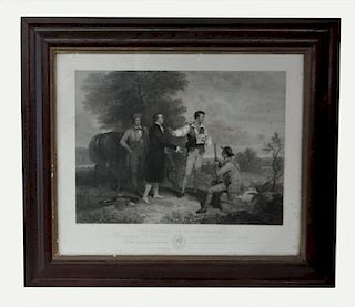 """ENGRAVING """"THE CAPTURE OF MAJOR ANDRE"""" AFTER A"""
