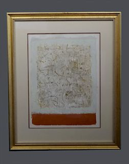 MIXED MEDIA ABSTRACT ON PAPER ATTRIB. TO STANLEY