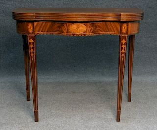 CENTENNIAL HEPPLEWHITE STYLE INLAID CARD TABLE