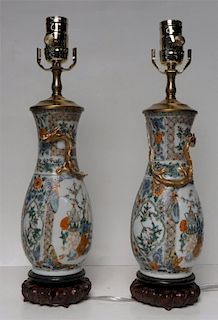 PR OF ROSE MEDALLION VASES FASHIONED INTO LAMPS