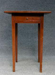 1 DRAWER CHERRY TAPERED LEG STAND C. 1840