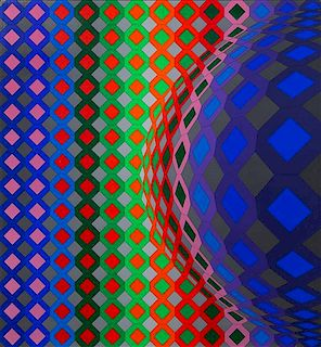 Victor Vasarely, (French/Hungarian, 1906-1997), Reech-ond, 1973