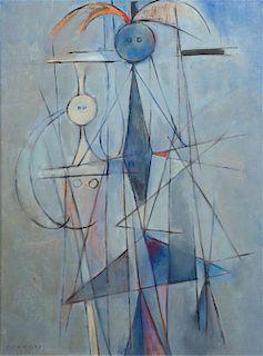 * Rene Portocarrero, (Cuban, 1912-1985), Figura en Azul, 1951