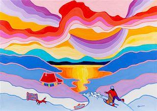 Ted Harrison, (Canadian, 1926-2015), Dawson City, 1989