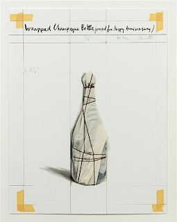 Christo and Jeanne-Claude, (American, b. 1935), Wrapped Champagne Bottle, Project for Happy Anniversary, 1997