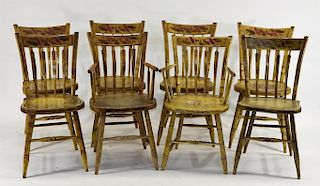 8 C.1800 New England Yellow Painted Country Chairs