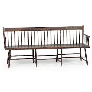 American Stenciled Windsor Bench