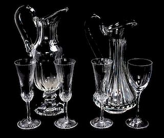 * Two Saint Louis Glass Pitchers Height of tallest 13 inches.