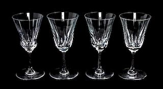* Four Saint Louis Glass Clarets Height 6 3/8 inches.