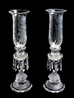 * A Pair of Saint Louis Frosted Glass Candlesticks Height 21 inches.