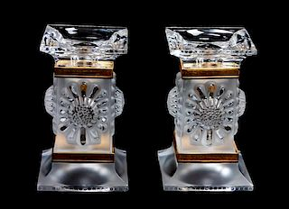 * A Pair of Lalique Molded and Frosted Glass Candlesticks Height 5 1/4 inches.