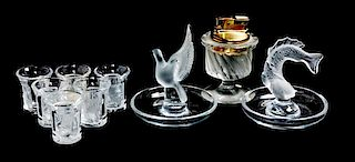 * A Group of Lalique Molded and Frosted Glass Table Articles Height of tallest 4 inches.