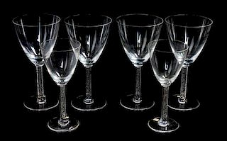* A Group of Lalique Molded Stemware Height of taller 7 1/4 inches.