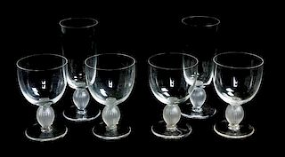 * A Group of Lalique Molded and Frosted Stemware Height 6 1/4 inches.